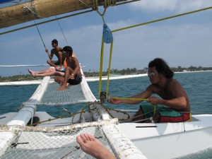 Paraw sailing in the Philippines.